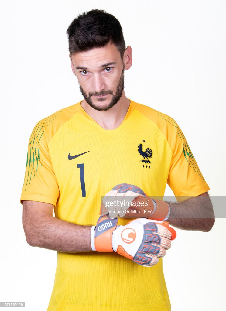Hugo Lloris of France poses for a portrait during the official FIFA World Cup 2018 portrait session at the Team Hotel on June 11, 2018 in Moscow, Russia.