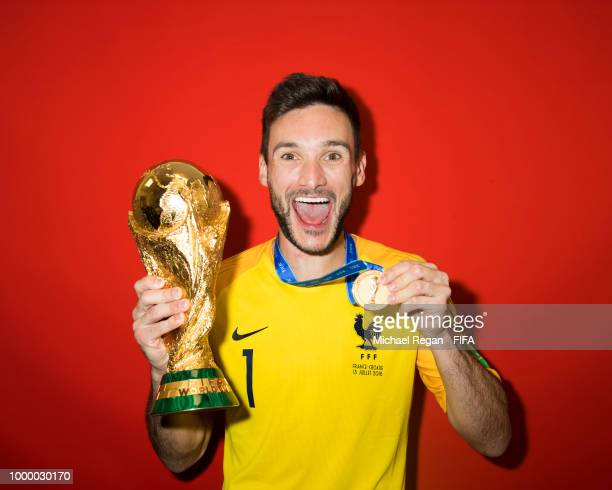 Hugo Lloris of France poses with the Champions World Cup trophy after the 2018 FIFA World Cup Russia Final between France and Croatia at Luzhniki...