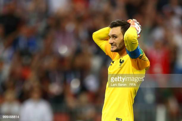 Hugo Lloris of France reacts after conceding Croatia's secoind goal during the 2018 FIFA World Cup Final between France and Croatia at Luzhniki...