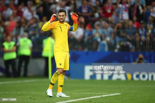 Hugo Lloris of France reacts after Mario Mandzukic of Croatia scored a goal to make it 42 during the 2018 FIFA World Cup Russia Final between France...