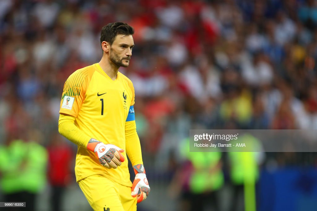 Hugo Lloris of France reacts after Mario Mandzukic of Croatia scored a goal to make it 4-2 during the 2018 FIFA World Cup Russia Final between France and Croatia at Luzhniki Stadium on July 15, 2018 in Moscow, Russia.