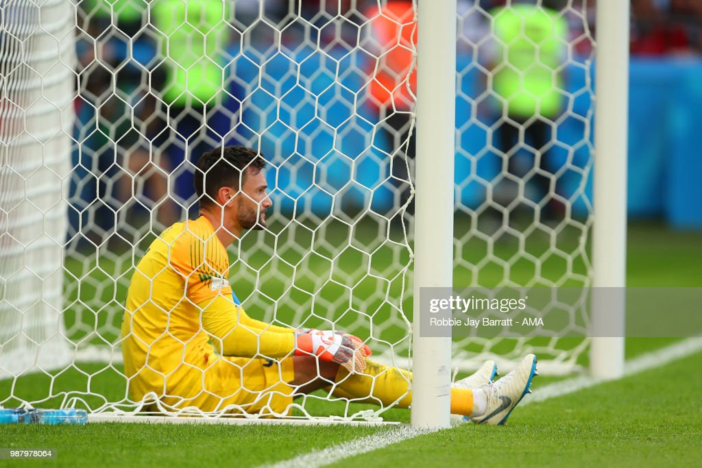 Hugo Lloris of France reacts after Sergio Aguero of Argentina scored a goal to make it 4-3 during the 2018 FIFA World Cup Russia Round of 16 match between France and Argentina at Kazan Arena on June 30, 2018 in Kazan, Russia.