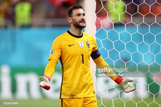 Hugo Lloris of France reacts during the UEFA Euro 2020 Championship Round of 16 match between France and Switzerland at National Arena on June 28,...