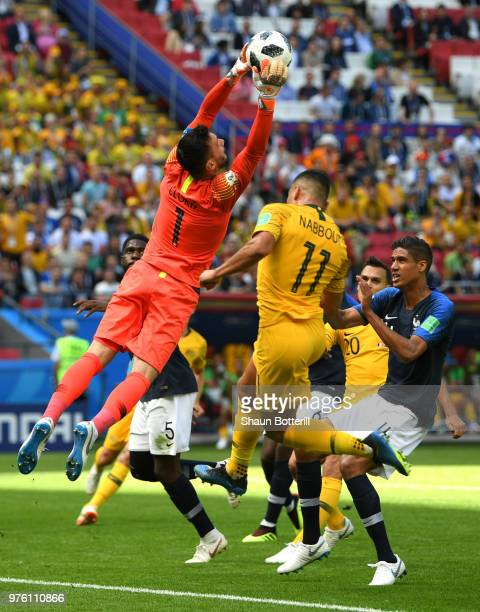 Hugo Lloris of France saves a cross from Australia during the 2018 FIFA World Cup Russia group C match between France and Australia at Kazan Arena on...