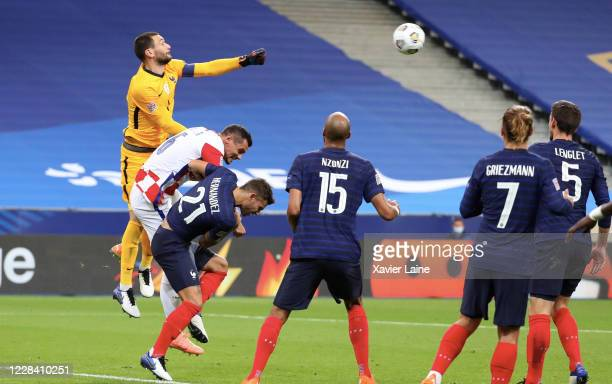 Hugo LLoris of France saves the ball during the UEFA Nations League group stage match between France and Croatia at Stade de France on September 8...