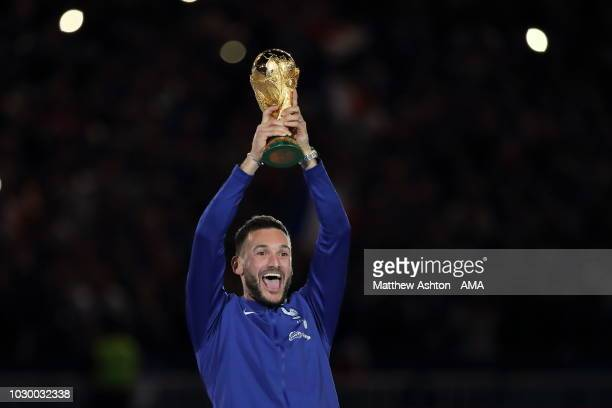 Hugo Lloris of France touches lifts the FIFA World Cup Trophy during the UEFA Nations League A group one match between France and Netherlands at...