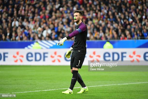 Hugo Lloris of France wins his 87th cap equally the record for a French goalkeeper held by Fabien Barthez during the friendly match between France...
