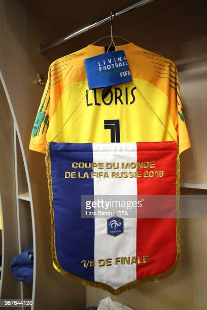 Hugo Lloris of France's shirt is seen alongside the France pennant inside the France dressing room prior to the 2018 FIFA World Cup Russia Round of...