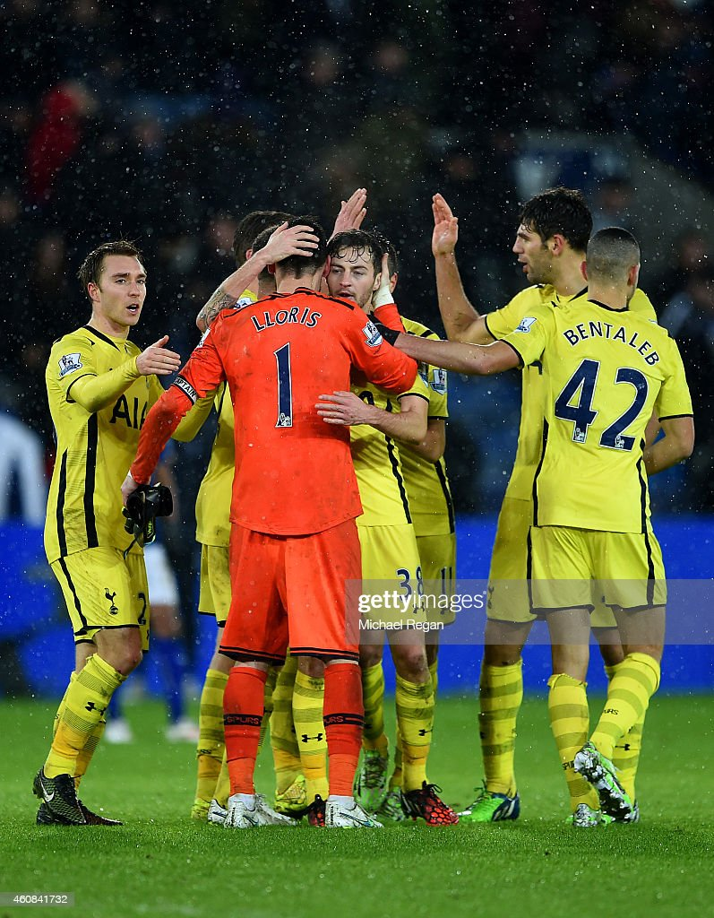 Hugo Lloris of Spurs celebrates with team-mates after the Barclays Premier League match between Leicester City and Tottenham Hotspur at The King Power Stadium on December 26, 2014 in Leicester, England.