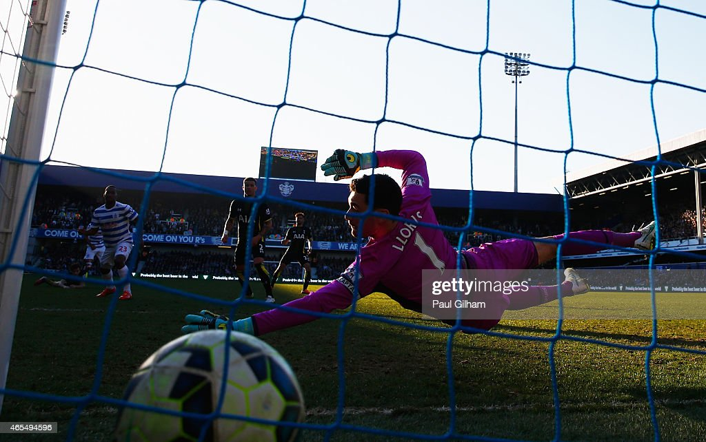 Hugo Lloris of Spurs fails to stop Sandro of QPR (not pictured) from scoring their first goal during the Barclays Premier League match between Queens Park Rangers and Tottenham Hotspur at Loftus Road on March 7, 2015 in London, England.