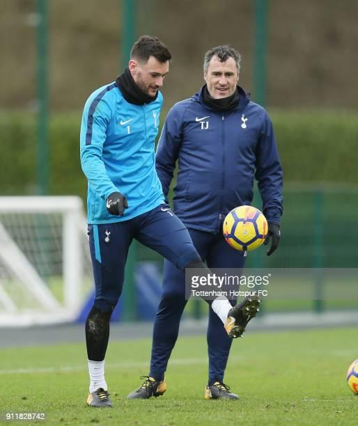 Hugo Lloris of Tottenham Hotspur and goalkeeping coach Toni Jimenez during the Tottenham Hotspur training session at Tottenham Hotspur Training...