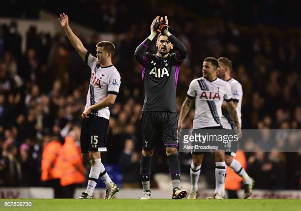 Hugo Lloris of Tottenham Hotspur applauds the fans after the Barclays Premier League match between Tottenham Hotspur and Norwich City at White Hart...