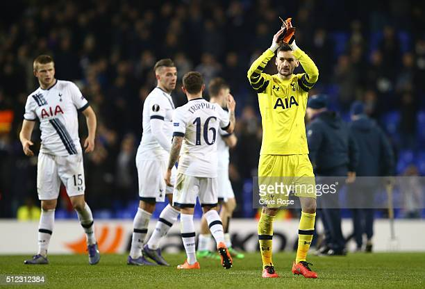 Hugo Lloris of Tottenham Hotspur applauds the supporters after his team's 30 win in the UEFA Europa League round of 32 second leg match between...