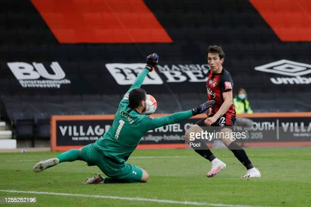 Hugo Lloris of Tottenham Hotspur attempts to save from Harry Wilson of AFC Bournemouth during the Premier League match between AFC Bournemouth and...