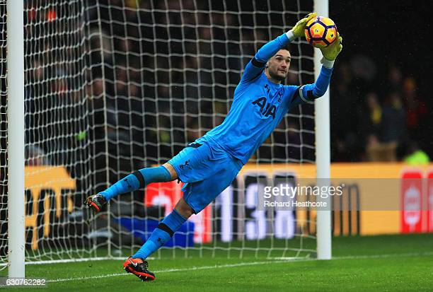 Hugo Lloris of Tottenham Hotspur catches the ball during the Premier League match between Watford and Tottenham Hotspur at Vicarage Road on January 1...