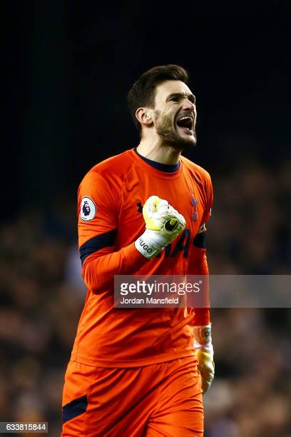 Hugo Lloris of Tottenham Hotspur celebrates after Harry Kane of Tottenham Hotspur scored the opening goal from the penalty spot during the Premier...