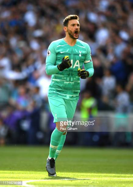 Hugo Lloris of Tottenham Hotspur celebrates after his team score during the Premier League match between Tottenham Hotspur and Crystal Palace at...