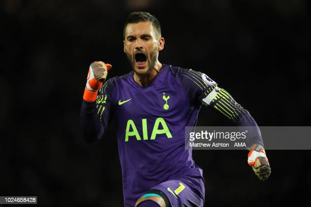 Hugo Lloris of Tottenham Hotspur celebrates after Lucas of Tottenham Hotspur scores a goal to make it 03 during the Premier League match between...