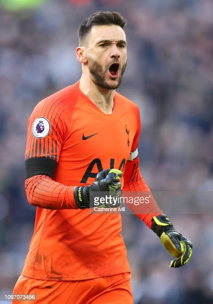 Hugo Lloris of Tottenham Hotspur celebrates after saving Jamie Vardy of Leicester City penalty during the Premier League match between Tottenham...