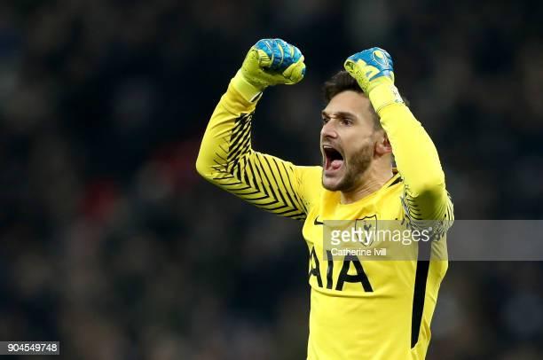 Hugo Lloris of Tottenham Hotspur celebrates as Christian Eriksen of Tottenham Hotspur scores their fourth goal during the Premier League match...
