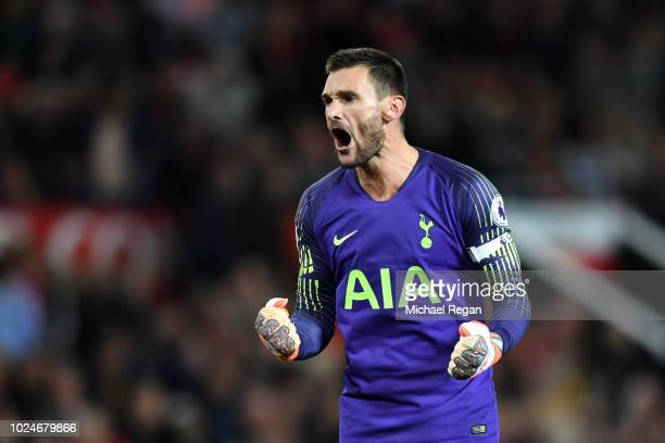 Hugo Lloris of Tottenham Hotspur celebrates during the Premier League match between Manchester United and Tottenham Hotspur at Old Trafford on August...