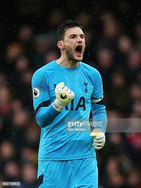 Hugo Lloris of Tottenham Hotspur celebrates during the Premier League match between Watford and Tottenham Hotspur at Vicarage Road on January 1 2017...