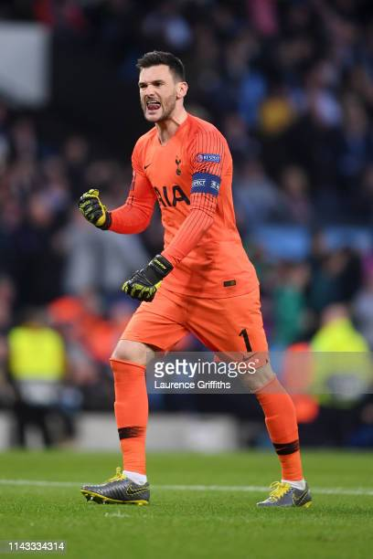 Hugo Lloris of Tottenham Hotspur celebrates during the UEFA Champions League Quarter Final second leg match between Manchester City and Tottenham...