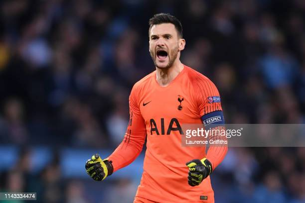 Hugo Lloris of Tottenham Hotspur celebrates during the UEFA Champions League Quarter Final second leg match between Manchester City and Tottenham...
