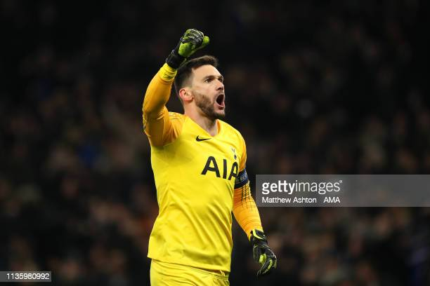 Hugo Lloris of Tottenham Hotspur celebrates his side's first goal during the UEFA Champions League Quarter Final first leg match between Tottenham...