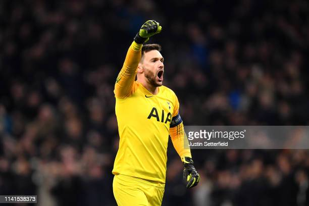 Hugo Lloris of Tottenham Hotspur celebrates his sides first goal during the UEFA Champions League Quarter Final first leg match between Tottenham...