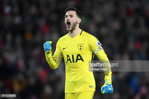 Hugo Lloris of Tottenham Hotspur celebrates his sides first goal during the Premier League match between Liverpool and Tottenham Hotspur at Anfield...
