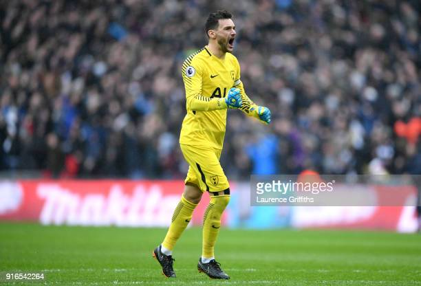 Hugo Lloris of Tottenham Hotspur celebrates his side's first goal during the Premier League match between Tottenham Hotspur and Arsenal at Wembley...