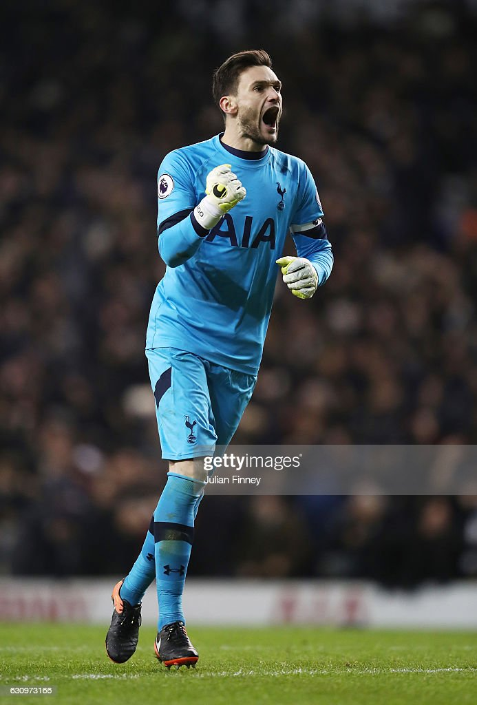 Hugo Lloris of Tottenham Hotspur celebrates his sides second goal of the game during the Premier League match between Tottenham Hotspur and Chelsea at White Hart Lane on January 4, 2017 in London, England.