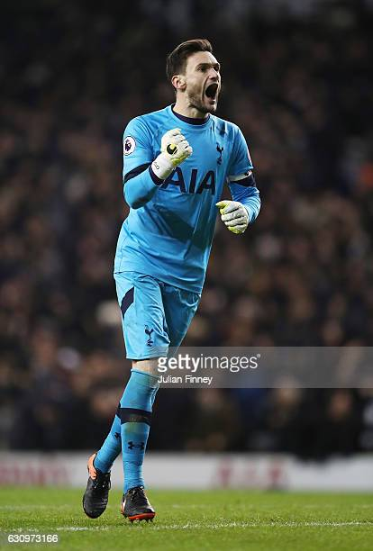 Hugo Lloris of Tottenham Hotspur celebrates his sides second goal of the game during the Premier League match between Tottenham Hotspur and Chelsea...