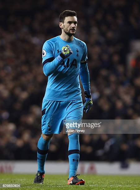 Hugo Lloris of Tottenham Hotspur celebrates his sides second goal during the Premier League match between Tottenham Hotspur and Hull City at White...