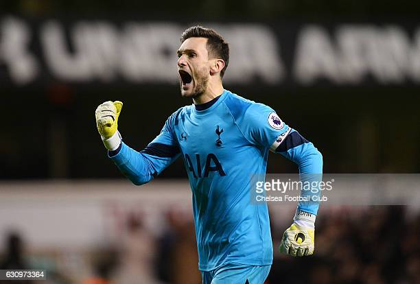 Hugo Lloris of Tottenham Hotspur celebrates his sides second goal during the Premier League match between Tottenham Hotspur and Chelsea at White Hart...