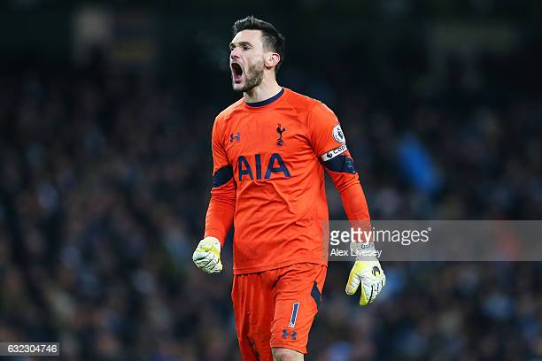 Hugo Lloris of Tottenham Hotspur celebrates his sides second goal during the Premier League match between Manchester City and Tottenham Hotspur at...