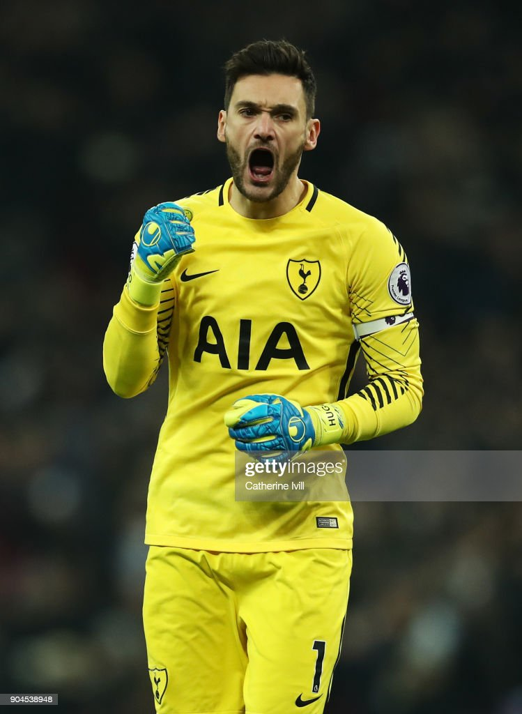 Hugo Lloris of Tottenham Hotspur celebrates his sides second goal during the Premier League match between Tottenham Hotspur and Everton at Wembley Stadium on January 13, 2018 in London, England.