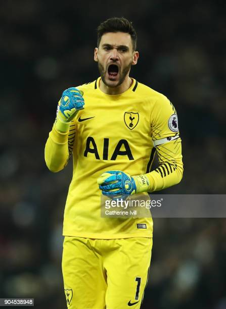 Hugo Lloris of Tottenham Hotspur celebrates his sides second goal during the Premier League match between Tottenham Hotspur and Everton at Wembley...