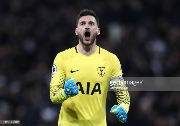 Hugo Lloris of Tottenham Hotspur celebrates his sides second goal during the Premier League match between Tottenham Hotspur and Manchester United at...