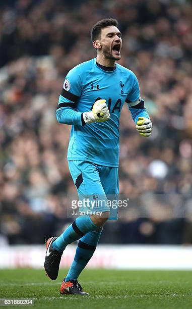 Hugo Lloris of Tottenham Hotspur celebrates his sides third goal of the game during the Premier League match between Tottenham Hotspur and West...