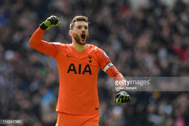 Hugo Lloris of Tottenham Hotspur celebrates his sides third goal during the Premier League match between Tottenham Hotspur and Huddersfield Town at...