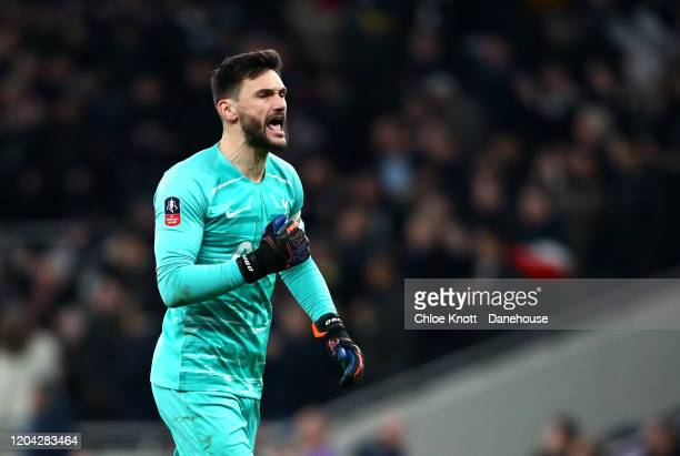 Hugo Lloris of Tottenham Hotspur celebrates his teams third goal during the FA Cup Fourth Round Replay match between Tottenham Hotspur and...