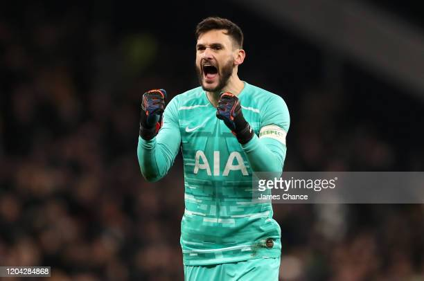 Hugo Lloris of Tottenham Hotspur celebrates his team's victory after the FA Cup Fourth Round Replay match between Tottenham Hotspur and Southampton...