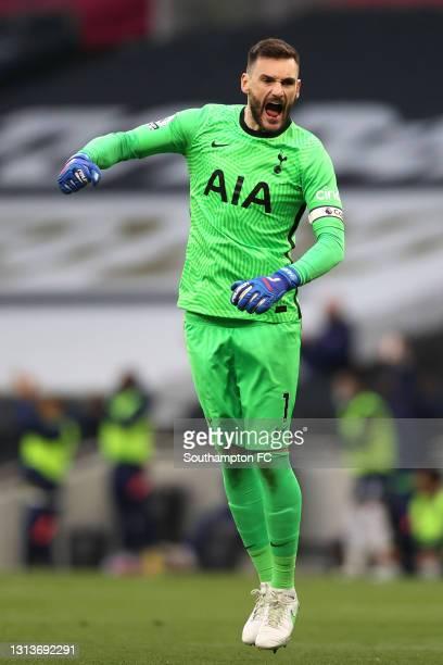 Hugo Lloris of Tottenham Hotspur celebrates their side's first goal scored by Gareth Bale of Tottenham Hotspur during the Premier League match...