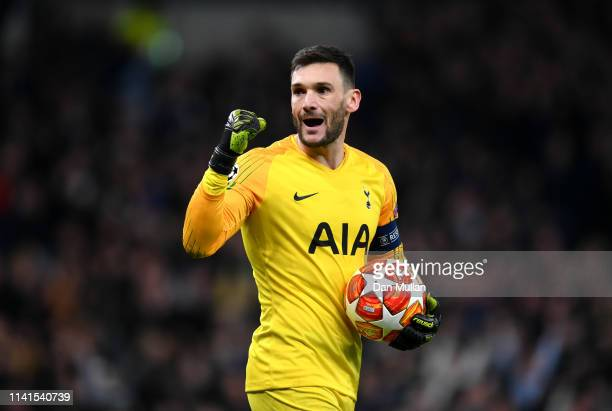 Hugo Lloris of Tottenham Hotspur celebrates victory after the UEFA Champions League Quarter Final first leg match between Tottenham Hotspur and...