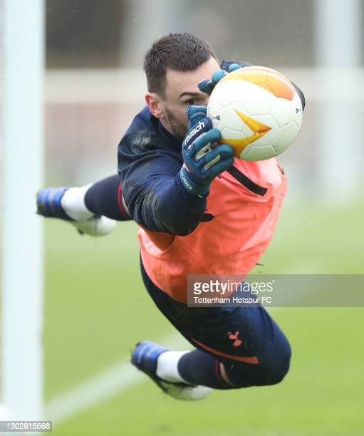 Hugo Lloris of Tottenham Hotspur during the Tottenham Hotspur training session at Tottenham Hotspur Training Centre on February 17, 2021 in Enfield,...