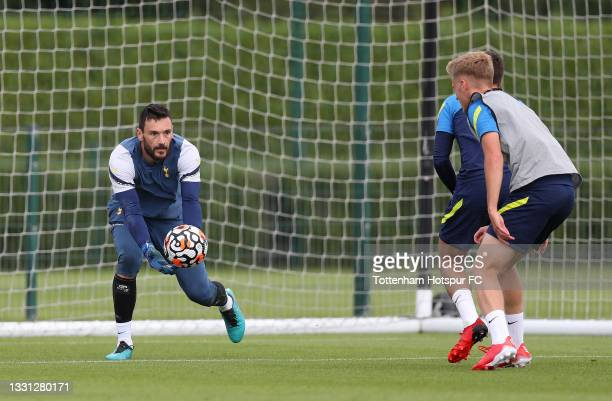 Hugo Lloris of Tottenham Hotspur during the Tottenham Hotspur pre-season training session at Tottenham Hotspur Training Centre on July 29, 2021 in...