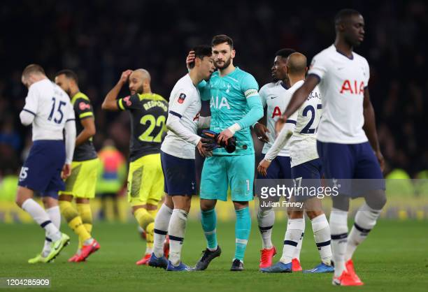 Hugo Lloris of Tottenham Hotspur embraces teammate HeungMin Son after the FA Cup Fourth Round Replay match between Tottenham Hotspur and Southampton...