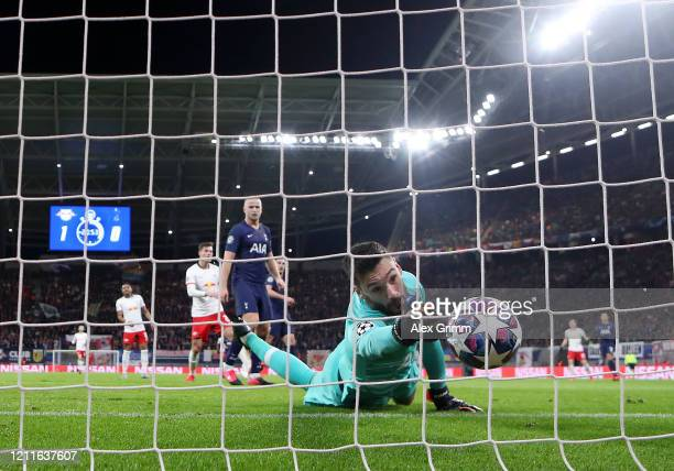 Hugo Lloris of Tottenham Hotspur fails to save RB Leipzig second goal scored by Marcel Sabitzer of RB Leipzig during the UEFA Champions League round...